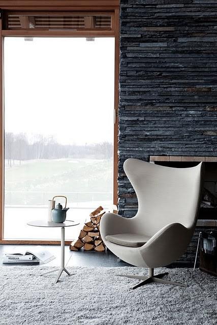 warm interior egg chair